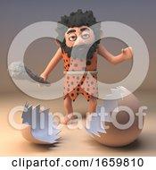 Poster, Art Print Of Dumb Caveman Savage Character With Club Looks At A Broken Dinosaur Eggshell