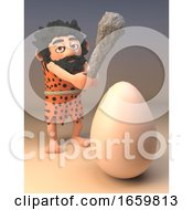 Poster, Art Print Of Hungry Caveman With Animal Pelt And Long Beard Swings His Prehistoric Club At A Giant Dinosaur Egg