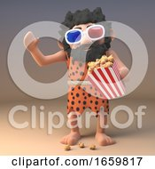 Poster, Art Print Of Caveman In Animal Pelt And Long Beard Eating Popcorn While Watching A 3d Movie