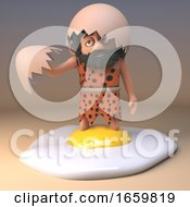 Poster, Art Print Of Accident Prone Caveman In Animal Pelt And Long Beard Makes A Mess Of Frying An Egg