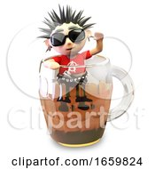 Drunk 3d Punk Rocker With Spikey Hair Attempts To Climb Out Of A Pint Of Beer by Steve Young
