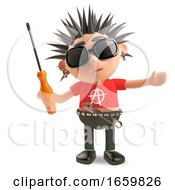 Technical Punk Rocker With Spikey Hair Holding A Screwdriver by Steve Young