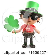 Lucky Irish Punk Rocker With Spikey Hair Wearing A Green Leprechaun Hat And Holding Shamrock