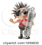 Cool 3d Punk Rocker With Spikey Hair Holding A Suspension Shock Absorber by Steve Young