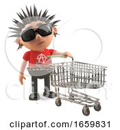 Bored 3d Punk Rocker With Spikey Air Pushing An Empty Shopping Trolley by Steve Young