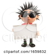 Cool 3d Punk Rocker With Spikey Hair Holding A Blank Sign