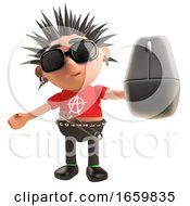 Poster, Art Print Of Funny Punk Rocker With Spikey Hair Holding A Wireless Mouse