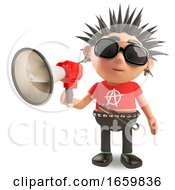 Noisy Punk Rocker Is Speaking Through An Amplified Megaphone by Steve Young