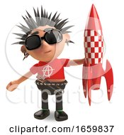 Playful Punk Rocker With Spikey Hair Plays With A Toy Rocket Spaceship by Steve Young