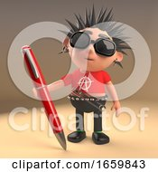 Cool Punk Rocker With Spikey Hair Holding A Red Pen