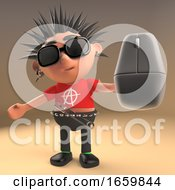 Cartoon 3d Punk Rocker With Spikey Hair Holding A Computer Mouse