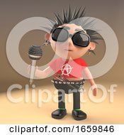 Musical 3d Punk Rocker Character With Spikey Hair Singing Into A Microphone