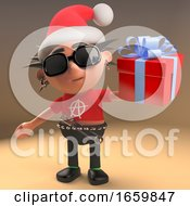 Silly 3d Punk Rock Character With Spikey Hair And Santa Hat Holding A Gift Wrapped Present