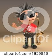 Musical 3d Punk Rocker With Spikey Hair Playing A Saxophone