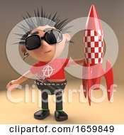 Cool 3d Punk Rocker With Spikey Hair Holding A Retro Red Spaceship Rocket