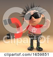 Cartoon 3d Punk Rocker With Spikey Hair Plays With A Magnet 3d Render
