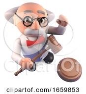 Crazy Mad Scientist Professor Character Holding An Auction Gavel