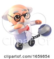 Funny Mad Scientist Professor Character Wearing A Ball And Chain As Punishment