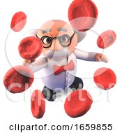 Cool Mad Scientist Professor Character Studying Up Close Blood Cells Plasma