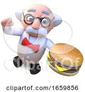 Mad Scientist Professor Character Eating A Giant Cheese Burger Snack