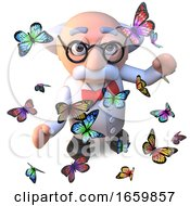 Intrigued Mad Scientist Professor Character Surrounded By Beautiful Butterflies