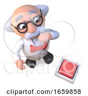 Poster, Art Print Of Curious Mad Scientist Professor Character Looks At A Switch On The Floor
