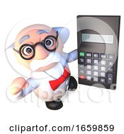 Clever Mad Scientist Professor Character Holding A Digital Calculator