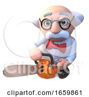 Crazy Mad Scientist Professor Character Holding A Chainsaw