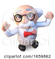 Happy Mad Scientist Professor Character Cheering With Joy 3d Illustration
