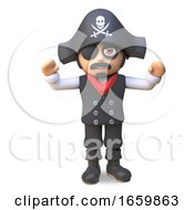 Sea Captain Pirate With Eye Patch And Pirates Skull And Crossbones Hat Cheers With Joy