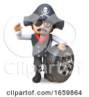 Pirate Sea Captain 3d Cartoon Character In Eyepatch And Skull And Crossbones Hat Waves Standing Next To A Car Wheel And Rim
