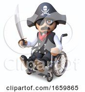 Injured Pirate Sea Captain In Skull And Crossbones Hat And Eyepatch Sits In A Wheelchair Holding His Cutlass