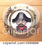 Pirate Sea Captain With Eyepatch And Skull And Crossbones Hat Looks Out Of Porthole 3d Illustration