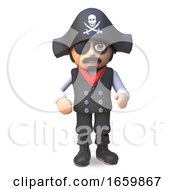Pirate Sea Captain In Skull And Crossbones Hat And Eyepatch Stands Ready For Piracy