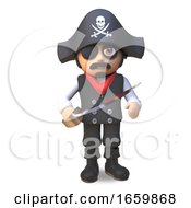 3d Pirate Sea Captain In Skull And Crossbones And Eyepatch Brandishes His Cutlass