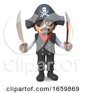 Cartoon 3d Pirate Sea Captain In Skull And Crossbones With Eyepatch Holds Two Cutlasses