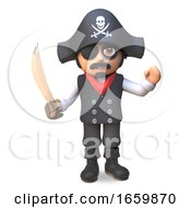 3d Cartoon Pirate Sea Captain In Eyepatch And Skull And Crossbones Waves While Wielding His Cutlass