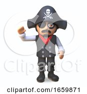 Cheerful 3d Pirate Sea Captain In Eyepatch Waves Hello