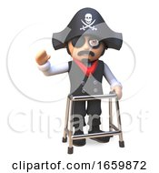 Cartoon Sea Captain Pirate In Eyepatch And Skull And Crossbones Hat Waves While Walking In A Zimmer Frame