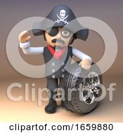 Pirate Captain Wearing Skull And Crossbones Jolly Roger Hat And Eyepatch Waves And Holds A Car Tyre And Rim
