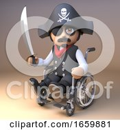 Pirate Sea Captain In Eyepatch And Skull And Crossbones Hat Wields A Cutlass While Using A Wheelchair