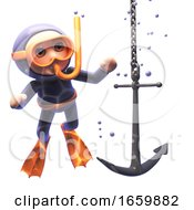 Funny 3d Cartoon Snorkel Scuba Diver Watching An Anchor Sink To The Ocean Floor