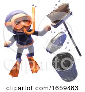 3d Cartoon Shocked Snorkel Scuba Diver Watches A Broom And Rubbish Bin Sink To The Ocean Floor by Steve Young
