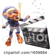 3d Cartoon Underwater Scube Snorkel Diver Watching A Film Slate Clapperboard Sink To The Ocean Floor