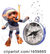 Strange 3d Cartoon Of Scuba Snorkel Diver Looking At A Magnetic Compass Sink To The Ocean Floor