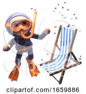 Funny 3d Cartoon Of A Scuba Snorkel Diver Looking At A Deck Chair Sinking Underwater