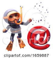 Underwater 3d Cartoon Of A Scuba Snorkel Diver Looking At An Email Address Symbol Sinking To The Ocean Floor