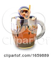 Funny 3d Cartoon Scuba Snorkel Diver Has Surfaced From A Pint Of Beer