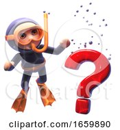 Funny 3d Cartoon Snorkel Scuba Diver Looking At A Question Mark Sink In The Ocean
