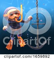 Underwater Snorkel Scuba Diver In 3d Watching A Ships Anchor Descend Through The Depths